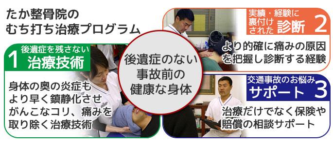 蒲田のたか整骨院のむち打ち治療プログラム3つの専門プログラム